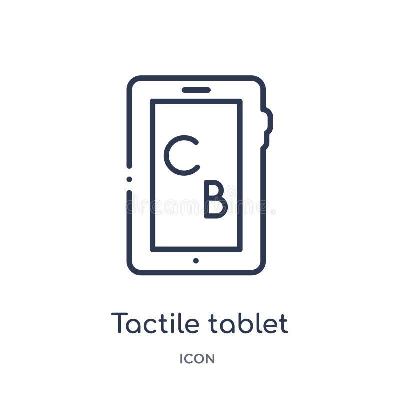 Icono táctil linear de la tableta de la colección del esquema de la educación Línea fina vector táctil de la tableta aislado en e ilustración del vector