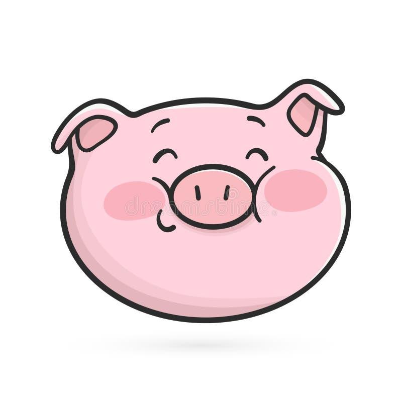Icono tímido sonriente del emoticon Cerdo de Emoji ilustración del vector