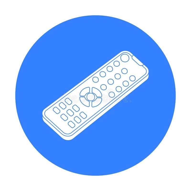 Icono teledirigido en estilo negro aislado en el fondo blanco Películas y ejemplo del vector de la acción del símbolo del cine stock de ilustración