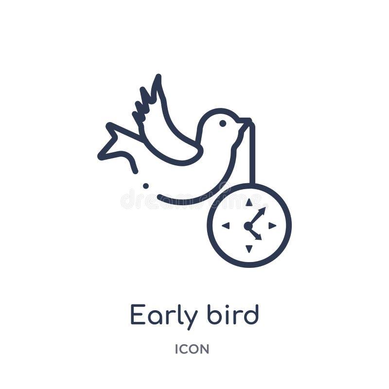 Icono temprano linear del pájaro de la colección del esquema de Crowdfunding Línea fina vector temprano del pájaro aislado en el  libre illustration
