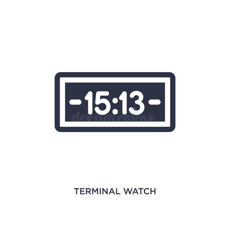icono terminal del reloj en el fondo blanco Ejemplo simple del elemento del concepto del terminal de aeropuerto ilustración del vector
