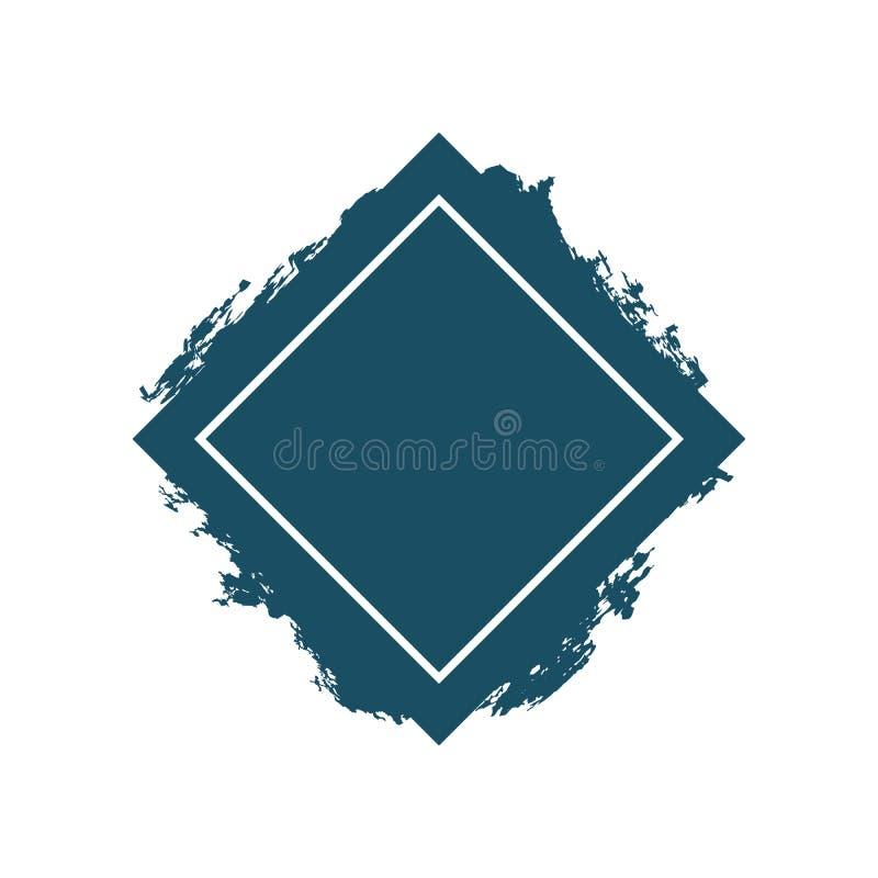 Icono texturizado grunge del diamante Símbolo plano con textura sucia Ejemplo capítulo stock de ilustración