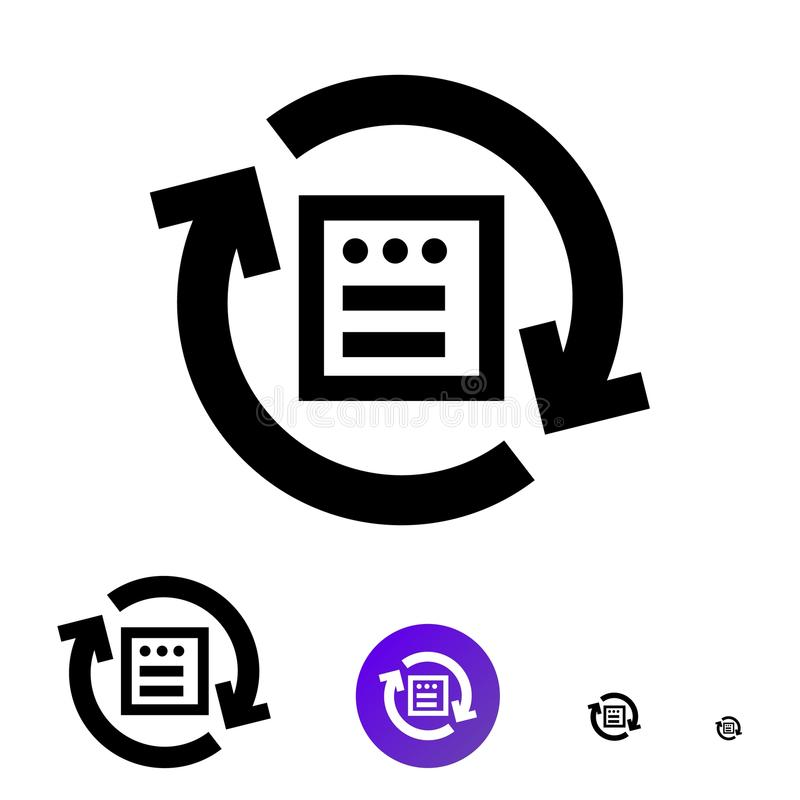 Icono total del fichero de la importación o icono de la sincronización Vector la línea icono con la imagen de flechas y de ventan ilustración del vector