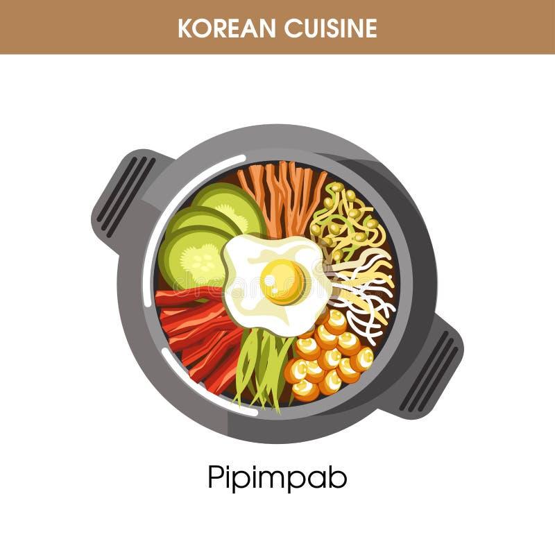 Icono tradicional del vector de la comida del plato de la cocina del arroz coreano de Pipimbap para el menú del restaurante libre illustration
