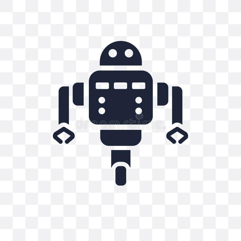 Icono transparente auxiliar del robot Diseño auxiliar del símbolo del robot stock de ilustración
