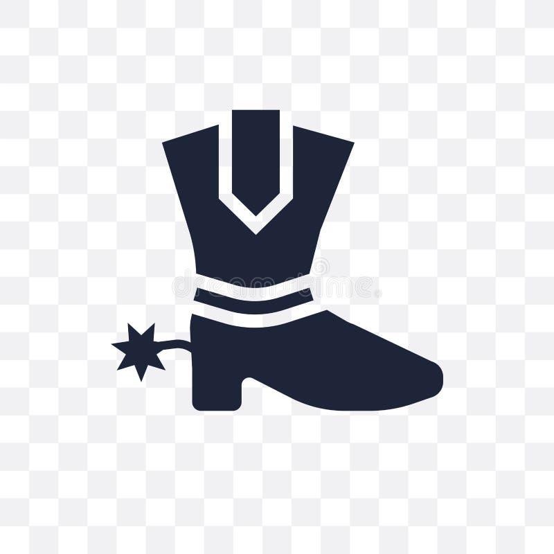 Icono transparente de Boot del vaquero Diseño del símbolo de Boot del vaquero del DES ilustración del vector