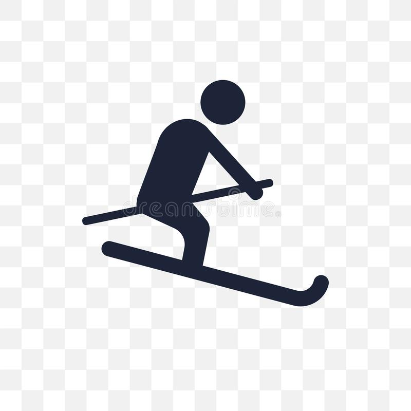 Icono transparente de esquí Diseño de esquí del símbolo de la actividad y stock de ilustración