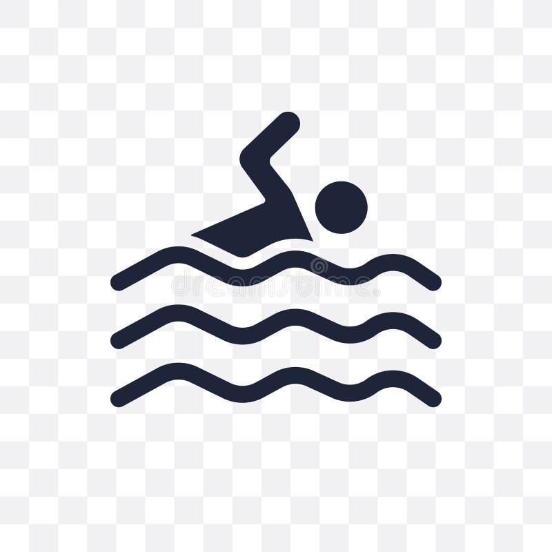 Icono transparente de la nadada Diseño del símbolo de la nadada del gimnasio y de la aptitud c libre illustration