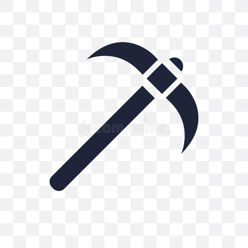 Icono transparente de la piqueta Diseño del símbolo de la piqueta de la construcción stock de ilustración
