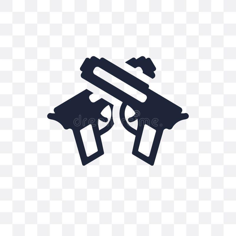 Icono transparente de las armas Diseño del símbolo de las armas de c política ilustración del vector