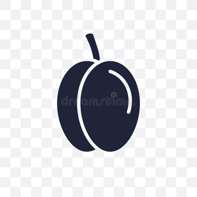 Icono transparente del ciruelo Diseño del símbolo del ciruelo de la fruta y del vegetab stock de ilustración
