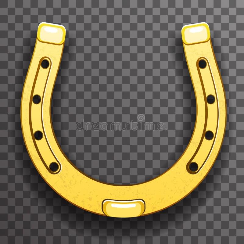 Icono transparente del fondo de la suerte del metal del oro del símbolo del talismán de herradura de la fortuna stock de ilustración