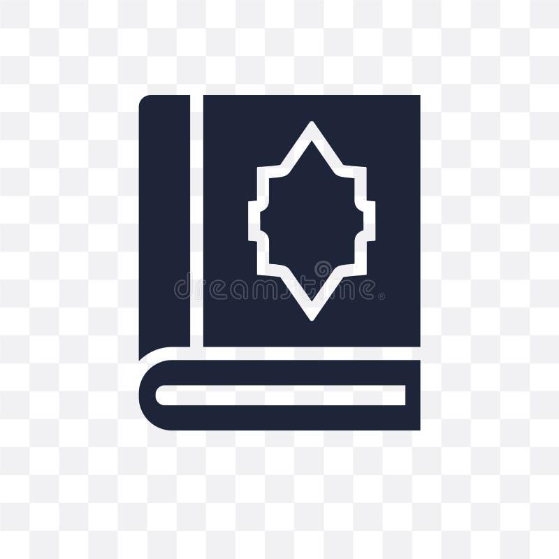 Icono transparente del Quran Diseño del símbolo del Quran del collec de la religión ilustración del vector