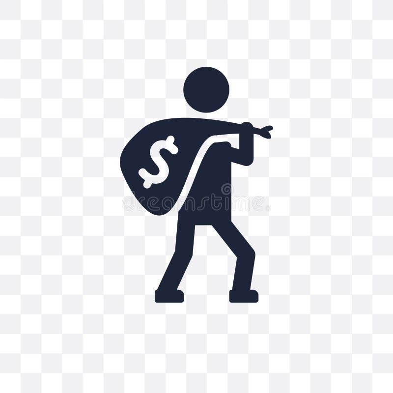 Icono transparente del robo Diseño del símbolo del robo del seguro c ilustración del vector