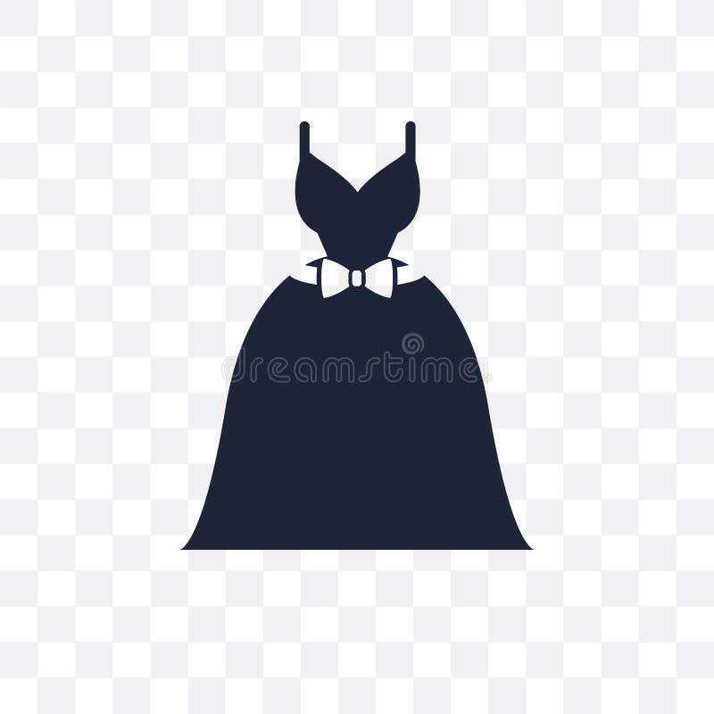 Icono transparente del vestido de boda Diseño del símbolo del vestido de boda de ilustración del vector