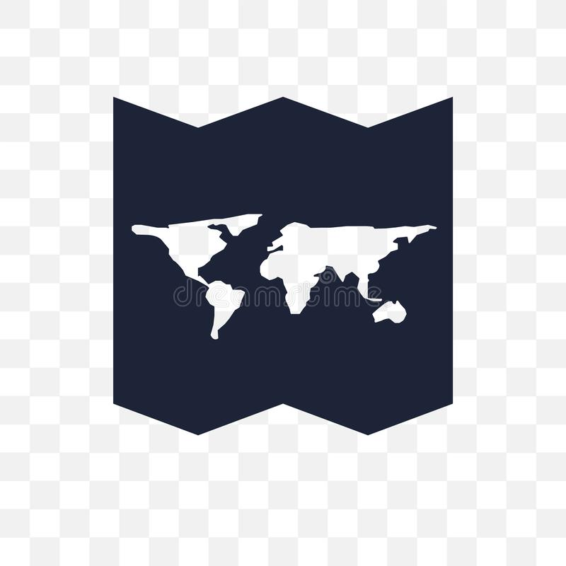 Icono transparente doblado mapa del mundo Desig del símbolo doblado del mapa del mundo ilustración del vector