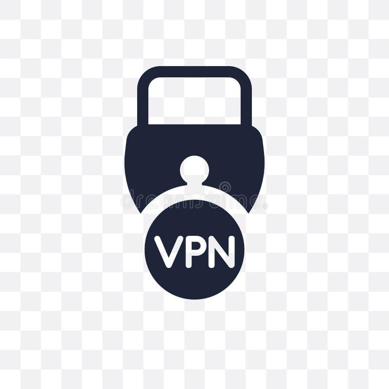 Icono transparente virtual de la red privada Networ privado virtual ilustración del vector