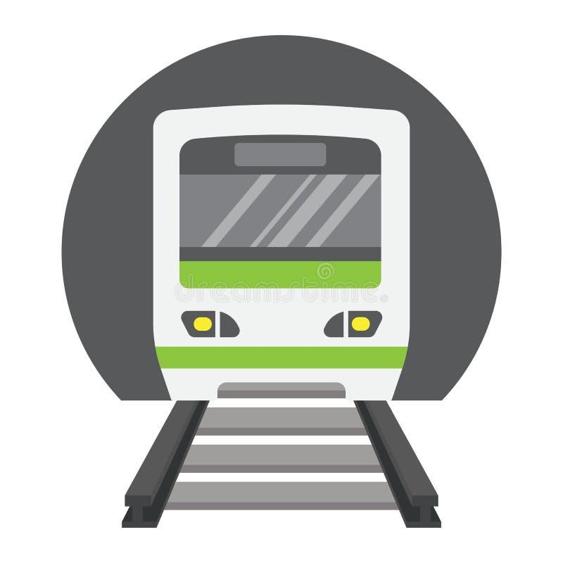 Icono, transporte y ferrocarril planos del metro stock de ilustración