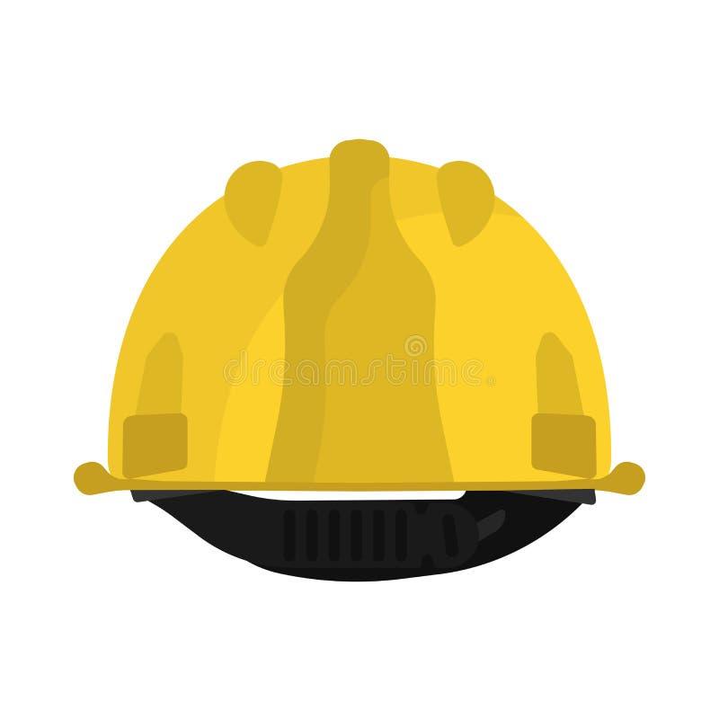 Icono trasero amarillo del vector de la opinión del casco Equipo del ingeniero del casco de la construcción Casquillo plástico de ilustración del vector