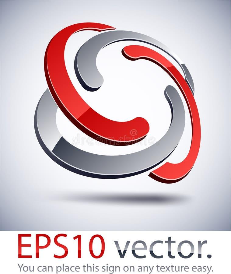 icono trenzado moderno de la insignia 3D. stock de ilustración