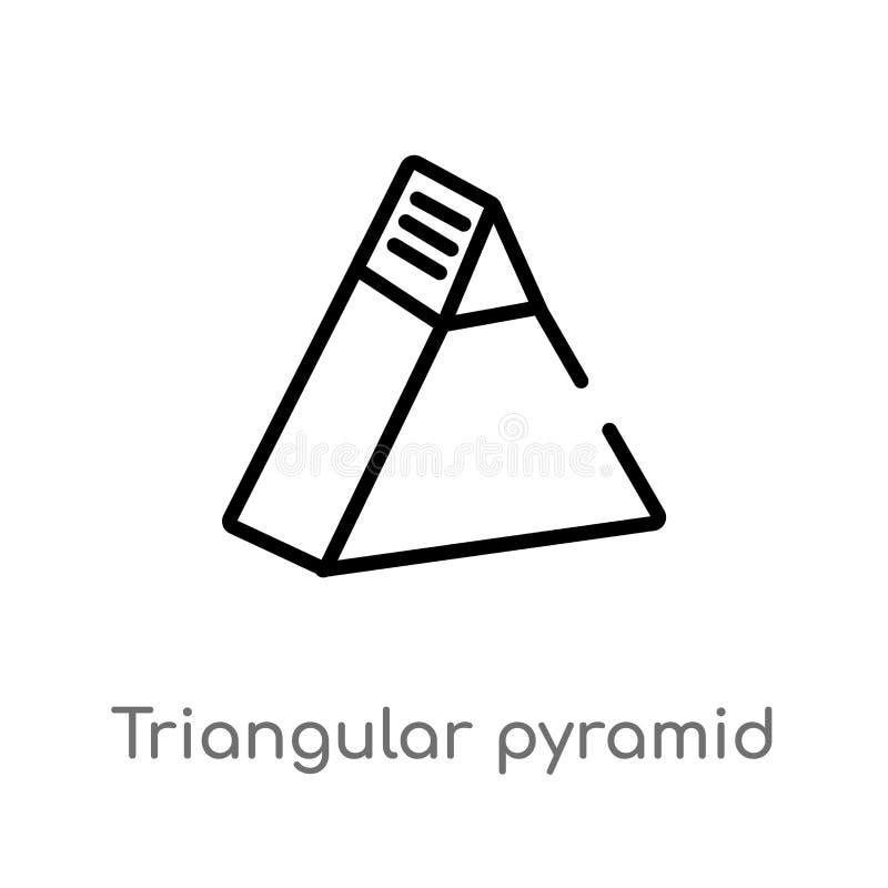 icono triangular del vector de la pirámide del esquema línea simple negra aislada ejemplo del elemento del concepto de la interfa stock de ilustración