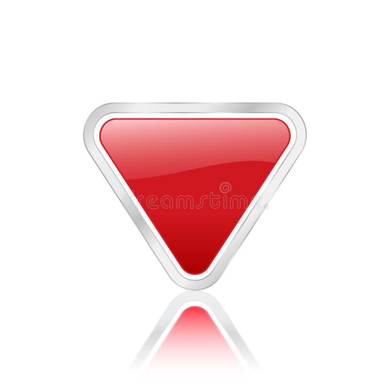 Icono triangular rojo stock de ilustración
