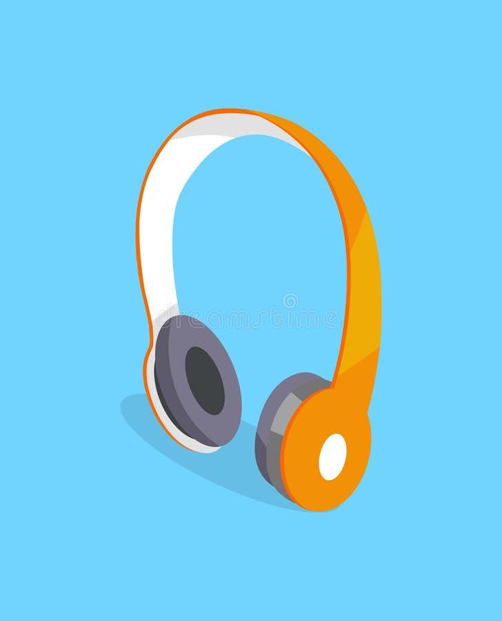 Icono tridimensional del vector inalámbrico de los auriculares ilustración del vector