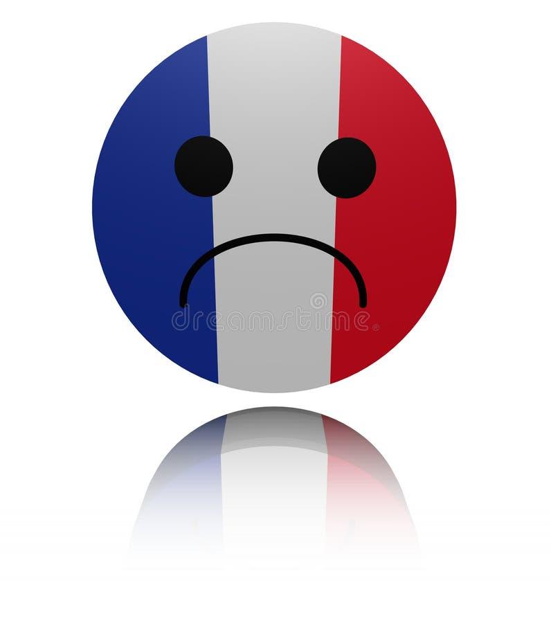 Icono triste de la bandera francesa con el ejemplo de la reflexión ilustración del vector