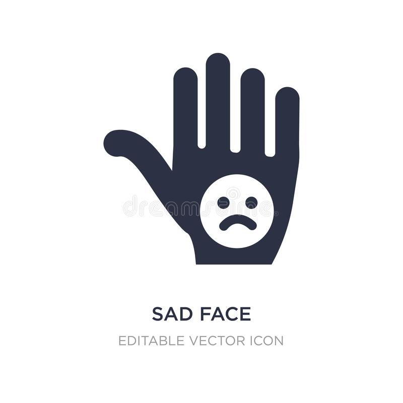 icono triste de la cara en el fondo blanco Ejemplo simple del elemento del concepto de Guestures stock de ilustración