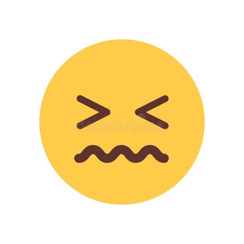 Icono triste de la emoción de la gente de Emoji del trastorno de la cara amarilla de la historieta ilustración del vector