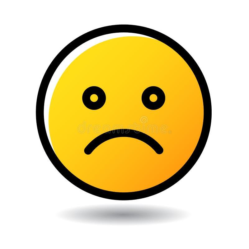 Icono triste del emoji del emoticon de la cara stock de ilustración