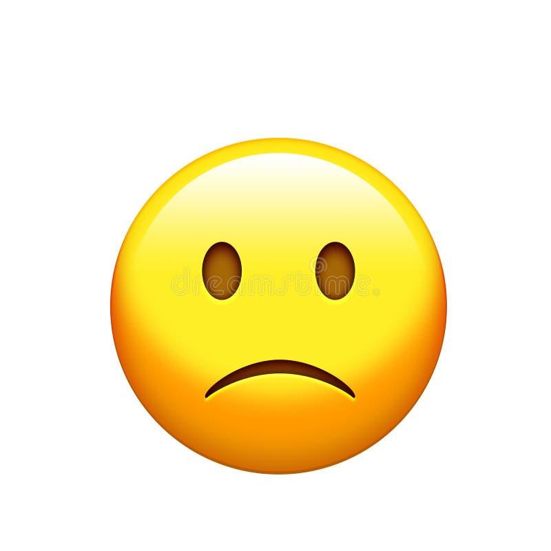 Icono triste e infeliz amarillo aislado de la cara libre illustration