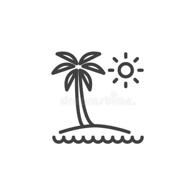 Icono tropical del esquema de la isla ilustración del vector
