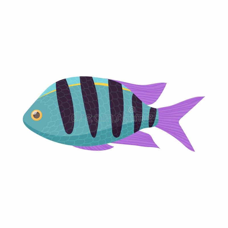 Icono tropical rayado de los pescados, estilo de la historieta ilustración del vector