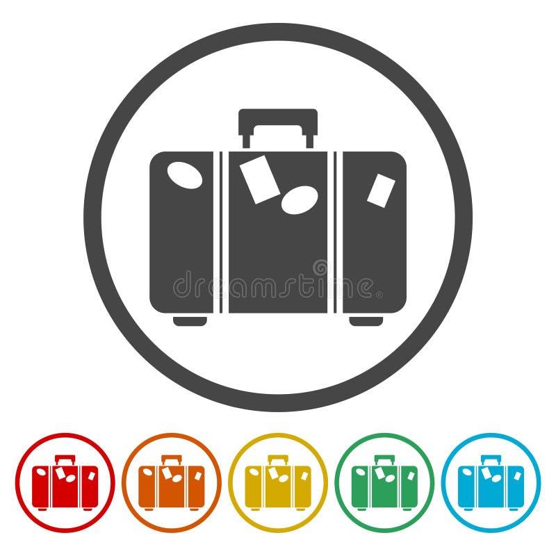 Icono turístico de la web del bolso, símbolo del equipaje ilustración del vector