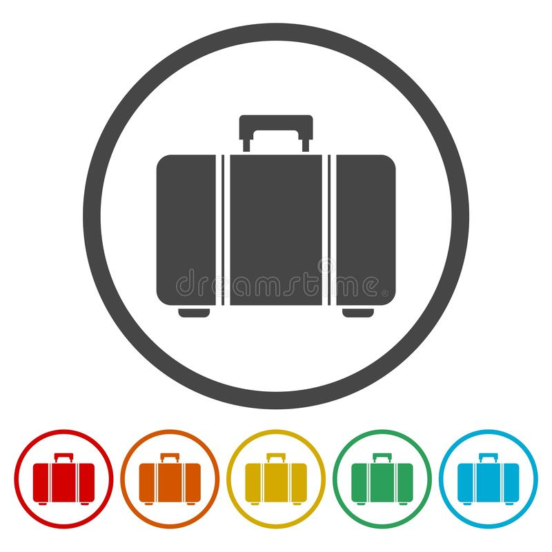 Icono tur?stico de la web del bolso, s?mbolo del equipaje stock de ilustración