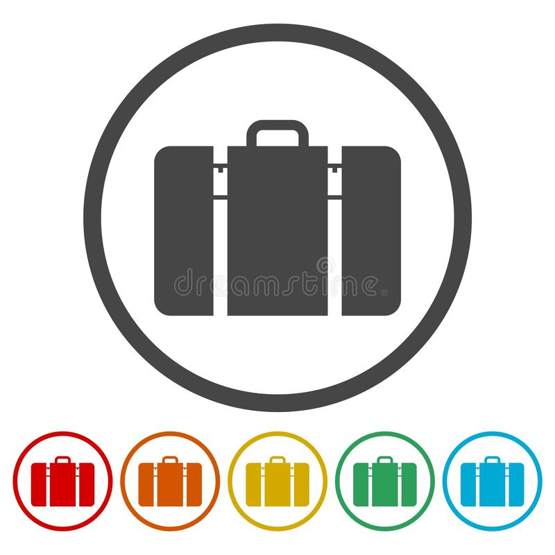 Icono tur?stico de la web del bolso, s?mbolo del equipaje ilustración del vector