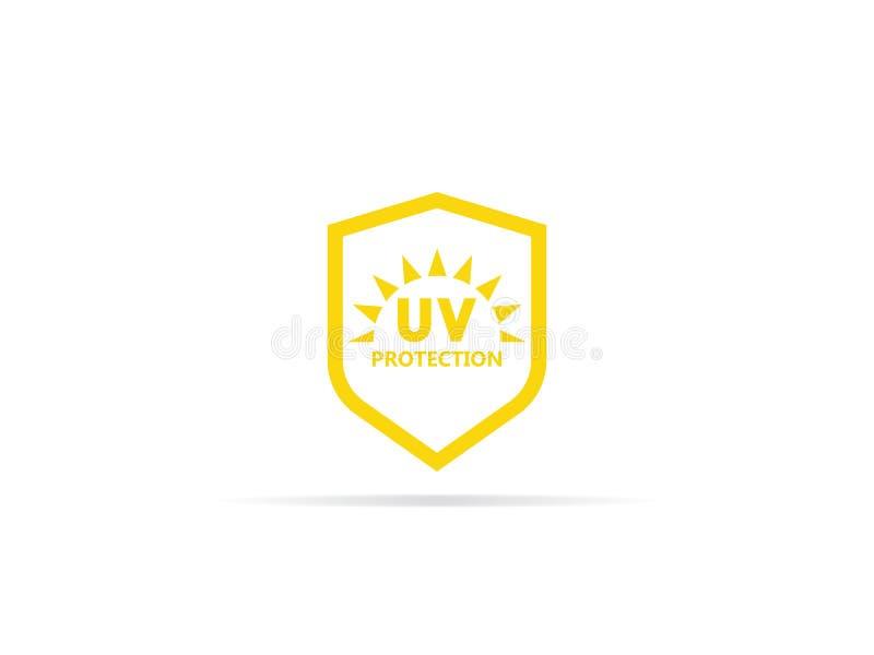 Icono ULTRAVIOLETA de la protección, radiación ultravioleta anti con el sol y símbolo del logotipo del escudo Ilustración del vec stock de ilustración