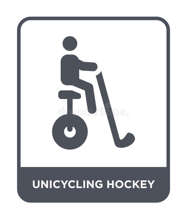 icono unicycling del hockey en estilo de moda del diseño icono unicycling del hockey aislado en el fondo blanco icono unicycling  stock de ilustración