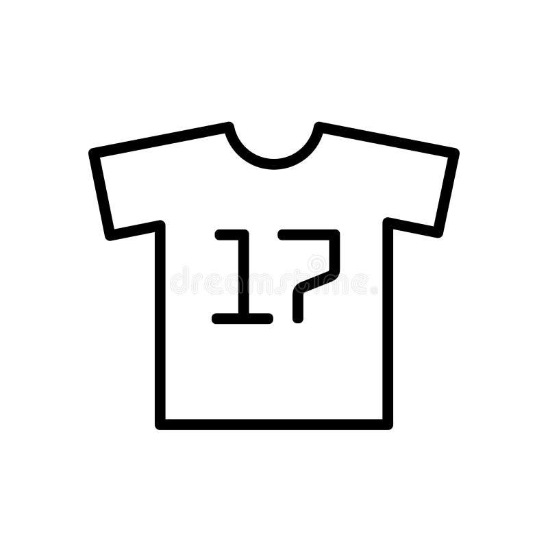 Icono uniforme de la camiseta del fútbol símbolo simple del deporte del estilo del esquema del ejemplo stock de ilustración