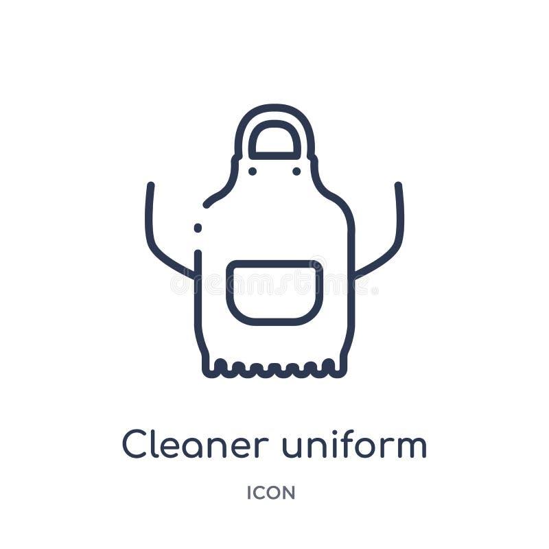 Icono uniforme del limpiador linear de la colección de limpieza del esquema Línea fina vector uniforme del limpiador aislado en e ilustración del vector