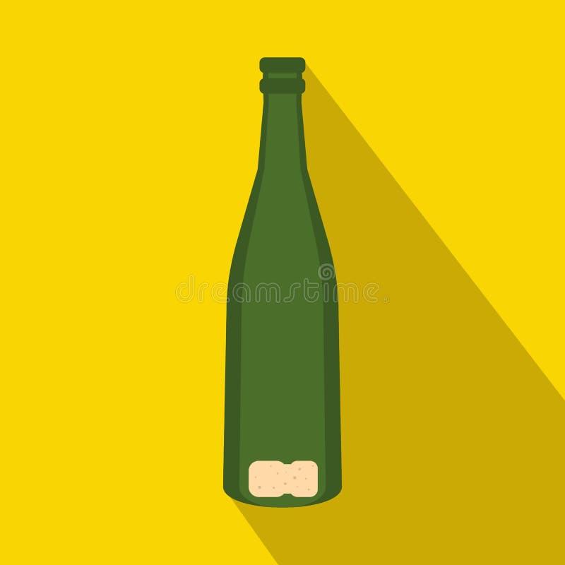 Icono vacío de la botella de vino, estilo plano ilustración del vector