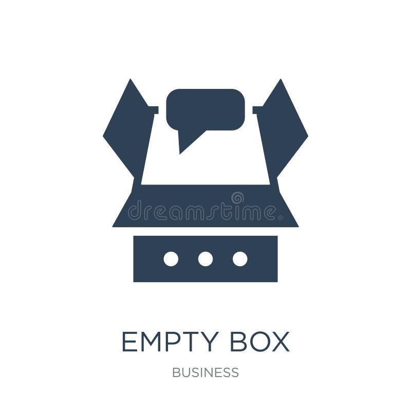 icono vacío de la caja en estilo de moda del diseño icono vacío de la caja aislado en el fondo blanco plano simple y moderno de l stock de ilustración