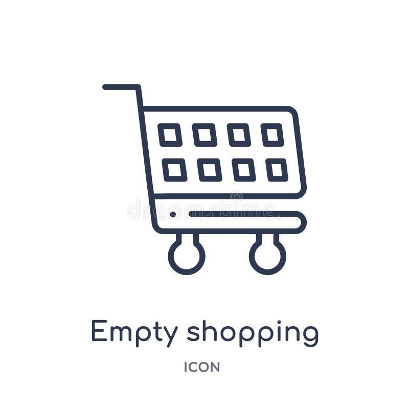 icono vacío de la cesta que hace compras de la colección del esquema de las herramientas y de los utensilios Línea fina icono vac stock de ilustración