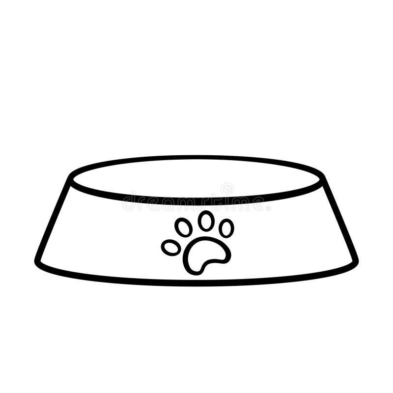 Icono vacío del esquema del cuenco del perro ilustración del vector