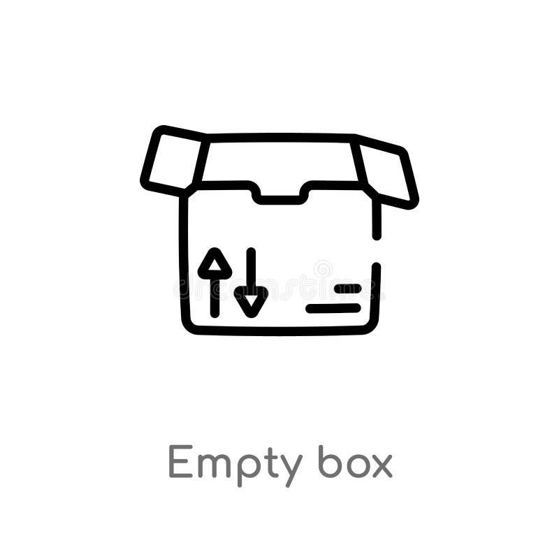 icono vacío del vector de la caja del esquema línea simple negra aislada ejemplo del elemento del concepto del negocio movimiento libre illustration