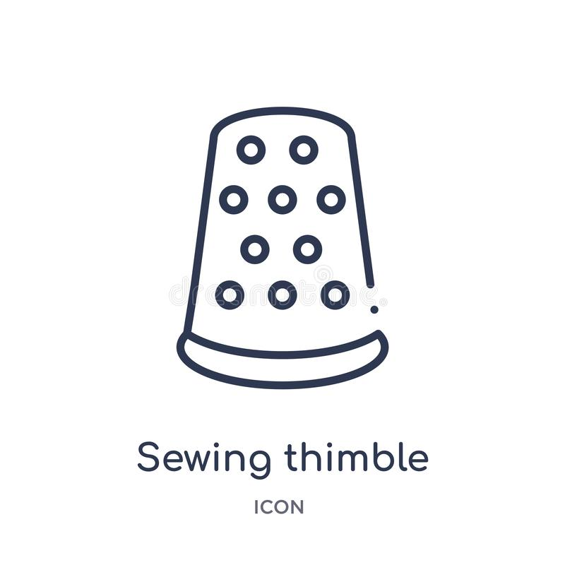 icono variable negro de costura del dedal de la colección del esquema de las herramientas y de los utensilios Línea fina icono va ilustración del vector