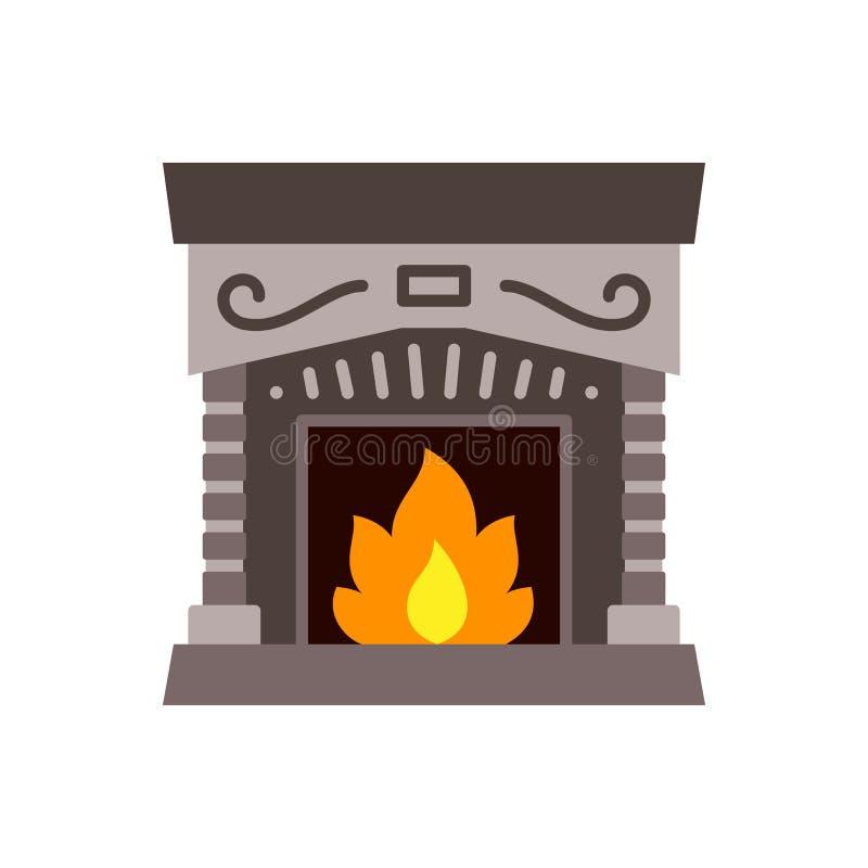 Icono vectorial de color único de la chimenea de Navidad ilustración del vector