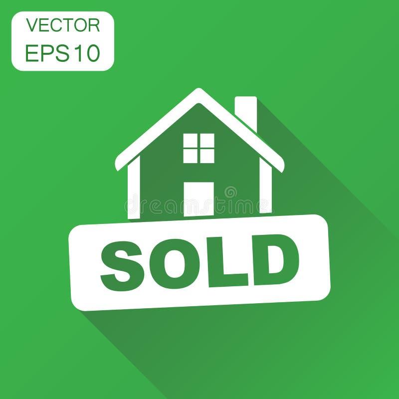 Icono vendido de la casa El concepto del negocio vendió el pictograma Illustr del vector libre illustration