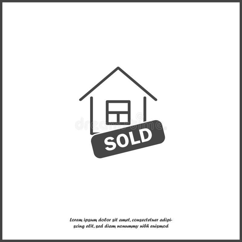 Icono vendido del vector de la casa Ejemplo del negocio en el fondo aislado blanco libre illustration